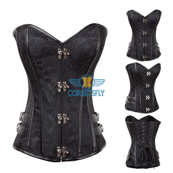 Spiral Steel Boned Steampunk Burlesque Side With Buckle Overbust Corset CF8016 Black_01