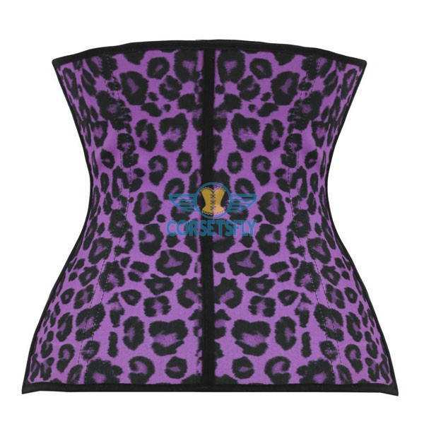 Sport Latex Rubber Waist Cincher Steel Boned Faja Shapeware Corset CF9002 Purple Leopard_01