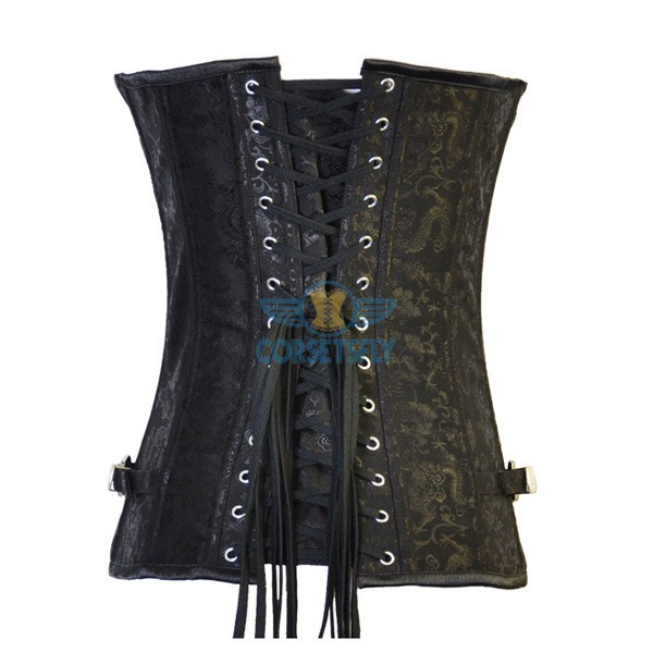 Steampunk Dragon Embroidered Steel Buckle Clasp Closures Steel Boned Corset CF8029_01