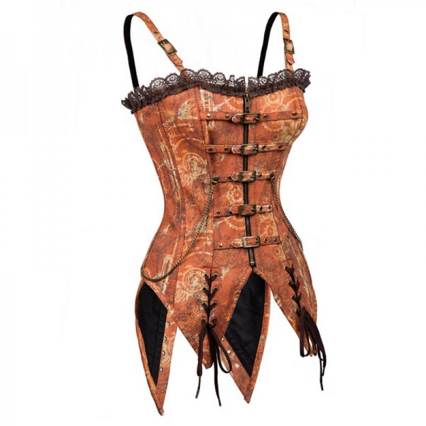 Steampunk Gothic Brown Premium Brocade Overbust Corset with Strap CF8035_02