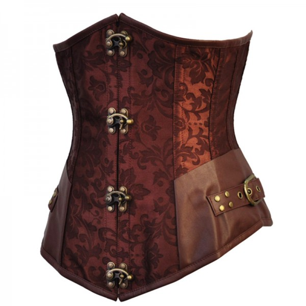 Steampunk Gothic Victorian Underbust Steel Boned Clasp Closures Corset CF8092 Brown_02