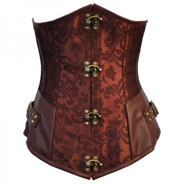 Steampunk Gothic Victorian Underbust Steel Boned Clasp Closures Corset CF8092 Brown_01
