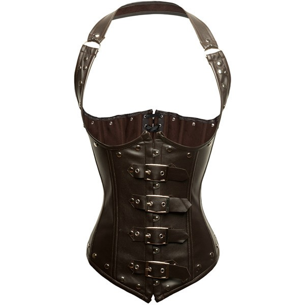 Steampunk Halter Faux Leather Steel Boned Brown Corset with Buckles CF8052_01