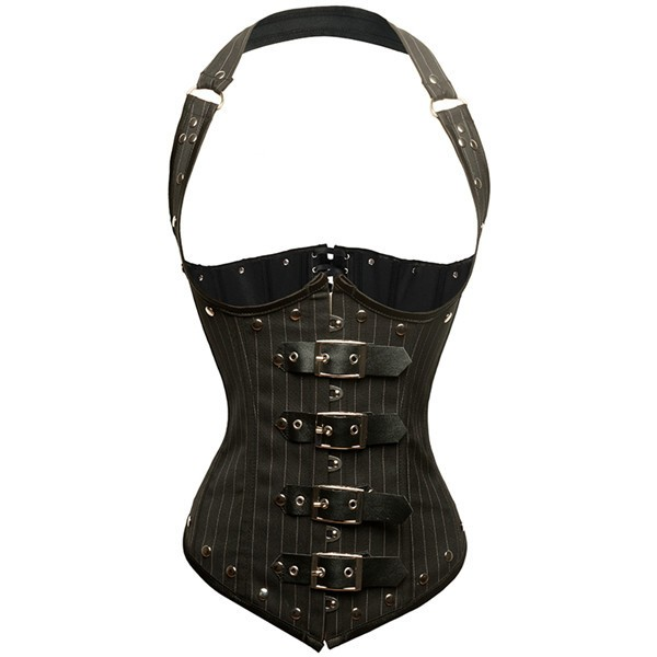 4f5a4199612 Steampunk Halter Faux Leather Steel Boned Pinstripe Corset with Buckles  CF8053 01 ...