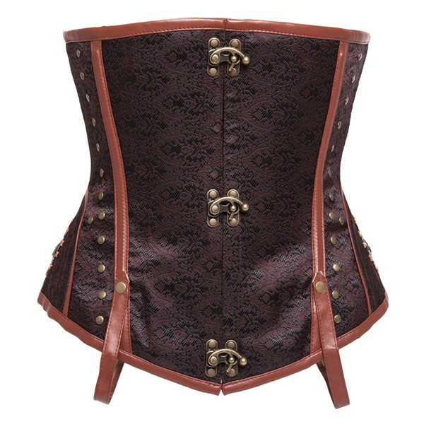 Steampunk Punk Style Underbust Floral Tapestry Brocade Jacquard Corset CF8037 Brown_01