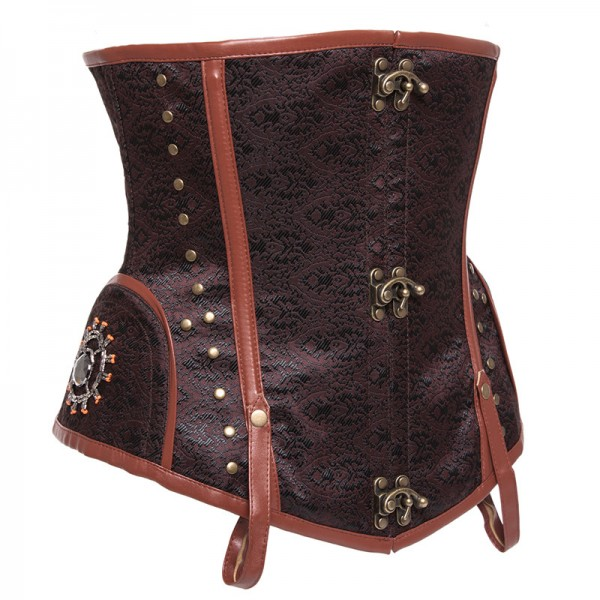 Steampunk Punk Style Underbust Floral Tapestry Brocade Jacquard Corset CF8037 Brown_02