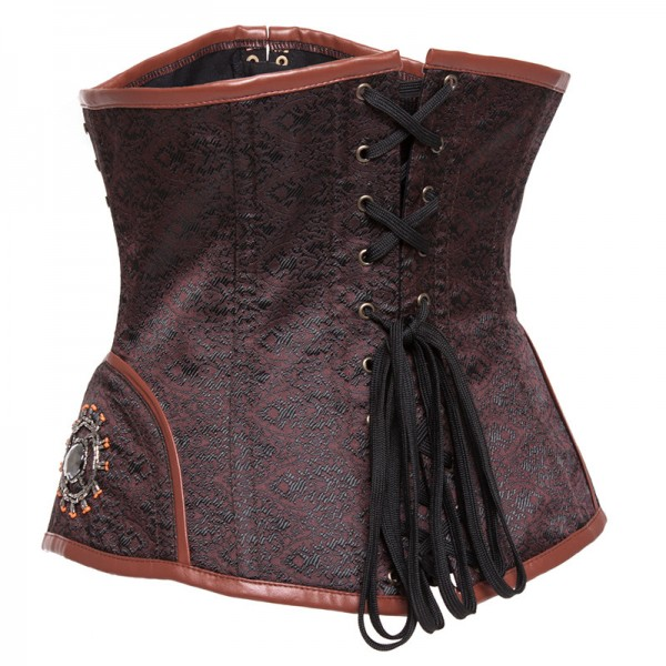 Steampunk Punk Style Underbust Floral Tapestry Brocade Jacquard Corset CF8037 Brown_03