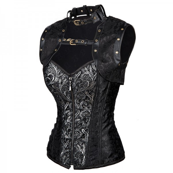 Steampunk Steel Boned Halter Brocade Overbust Corset with Jacket and Blet CF8067 Black_03