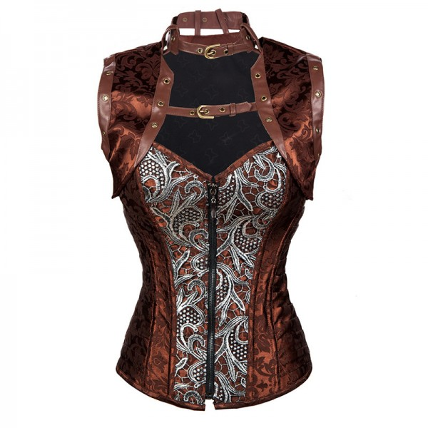 Steampunk Steel Boned Halter Brocade Overbust Corset with Jacket and Blet CF8067 Brown_01