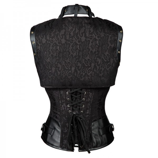 Steampunk Steel Boned Halter Underbust Corset with Jacket and Blet CF8065 Black_03