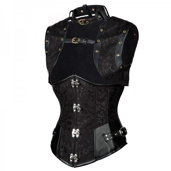 Steampunk Steel Boned Halter Underbust Corset with Jacket and Blet CF8065 Black_02