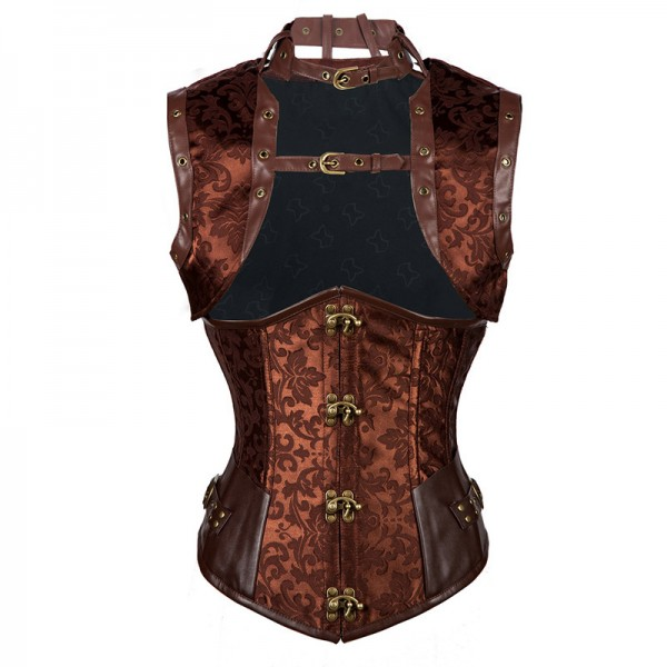 Steampunk Steel Boned Halter Underbust Corset with Jacket and Blet CF8065 Brown_01