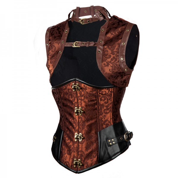 Steampunk Halter Steel Boned Underbust Corset with Jacket and Blet CF8084 Brown_02