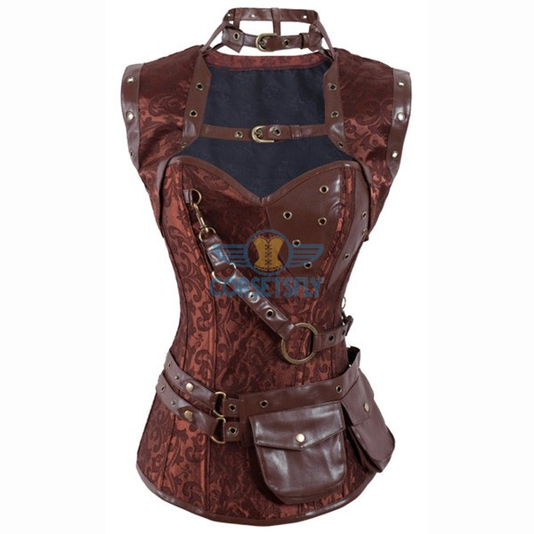 Steel Boned Steampunk Brocade Bustier Jacket Corset With Belt Pockets CF8007 Brown