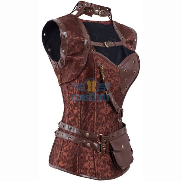 Steel Boned Steampunk Brocade Bustier Jacket Corset With Belt Pockets CF8007 Brown_01