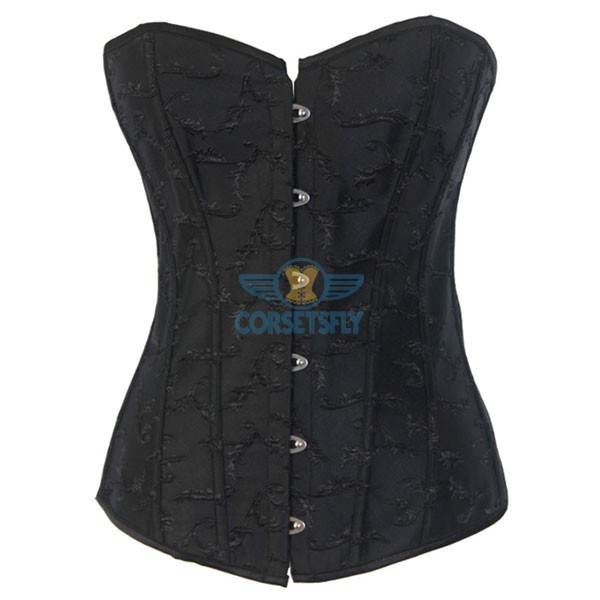 Strapless Waist Cincher Exquisite Jacquard Weave Embroidered Overbust Corset CF7083 Black