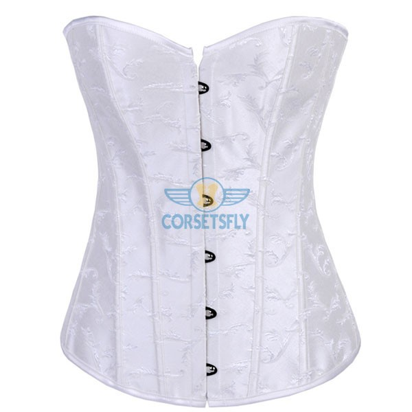 Strapless Waist Cincher Exquisite Jacquard Weave Embroidered Overbust Corset CF7083 White