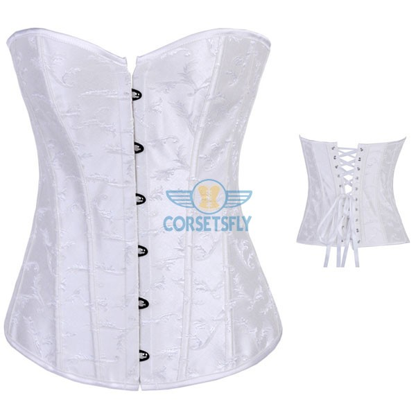 Strapless Waist Cincher Exquisite Jacquard Weave Embroidered Overbust Corset CF7083 White_01