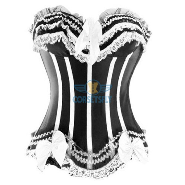 Stripe Bowknot Satin Lace Trim On Top Bottom Overbust Corset CF7113 White