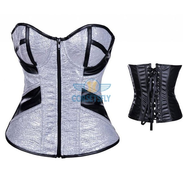Sweetheart Faux Zipper Sequins With Underwire Cups Leather Overbust Corset CF7225 Silver_01