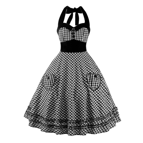 Sweetheart Neckline Rockabilly Sleeveless A-line Swing 1950s Bowknot Dress CF1242 Black_01
