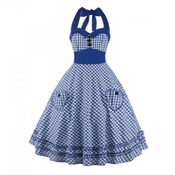Sweetheart Neckline Rockabilly Sleeveless A-line Swing 1950s Bowknot Dress CF1242 Blue_01