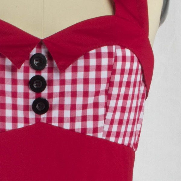 Sweetheart Neckline Rockabilly Sleeveless A-line Swing 1950s Bowknot Dress CF1242 Red_04