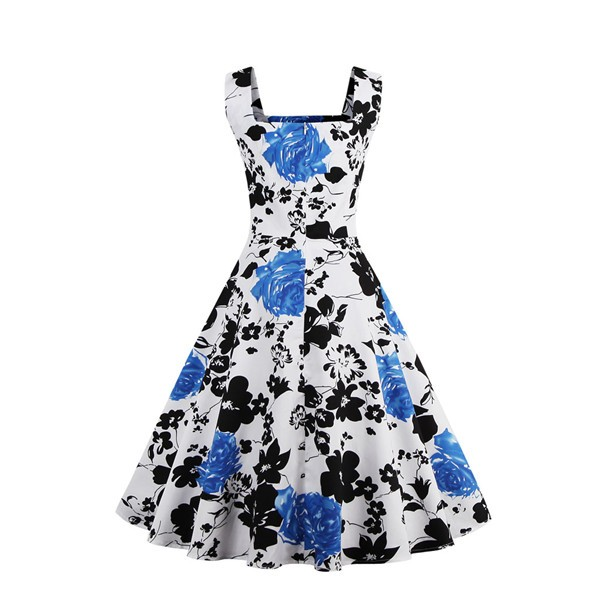 Swing Vintage Retro Floral Housewife Rockabilly Evening Party Dress CF1385_02