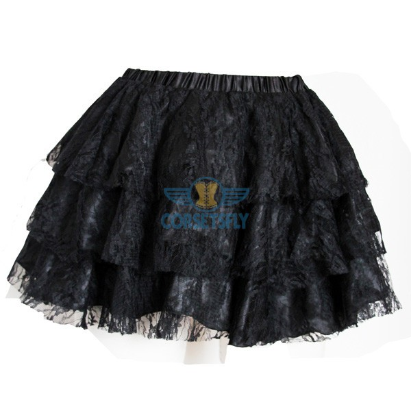 Trendy Fashion Organza  Mesh Ruffle Layered Soft Skirt Short Tulle Tutu CF6521 Black