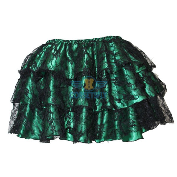 Trendy Fashion Organza  Mesh Ruffle Layered Soft Skirt Short Tulle Tutu CF6521 Green