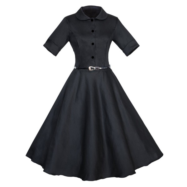 Unique Retro Collar Rockabilly Vintage Short Sleeve Swing Dress with Belt CF1259 Black_01