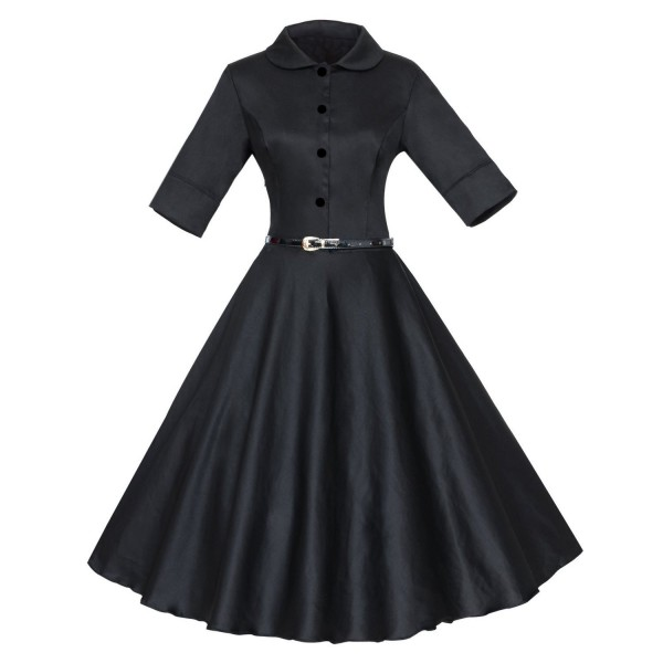 Unique Retro Collar Rockabilly Vintage Short Sleeve Swing Dress with Belt CF1259 Black_02