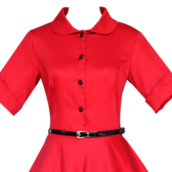 Unique Retro Collar Rockabilly Vintage Short Sleeve Swing Dress with Belt CF1259 Red_04