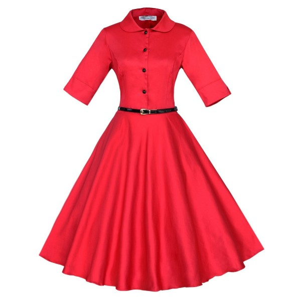 Unique Retro Collar Rockabilly Vintage Short Sleeve Swing Dress with Belt CF1259 Red_02