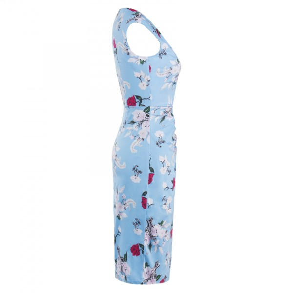 V-Neck Rockabilly 1950s Floral Print Bodycon Vintage Blue Evening Party Dress CF1278_02