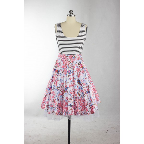Vibrant Print Scoop Neck with Straps Rockabilly Vintage Swing Party Dress CF1271_04