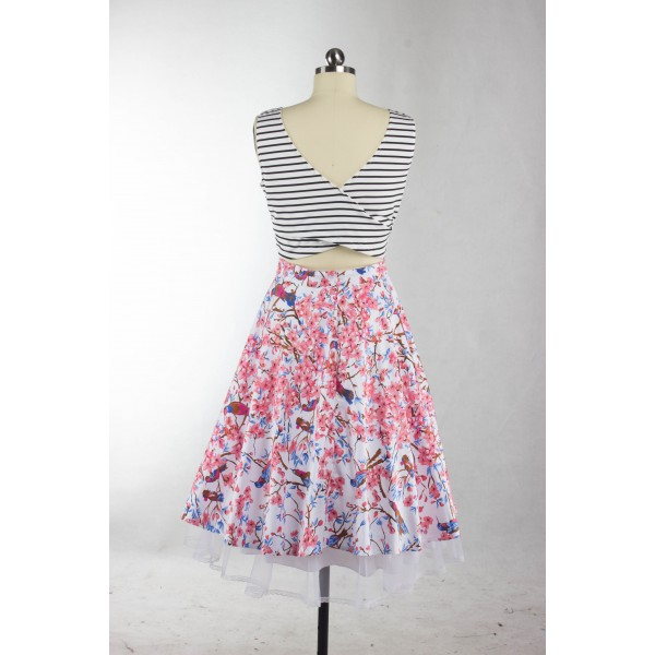Vibrant Print Scoop Neck with Straps Rockabilly Vintage Swing Party Dress CF1271_03
