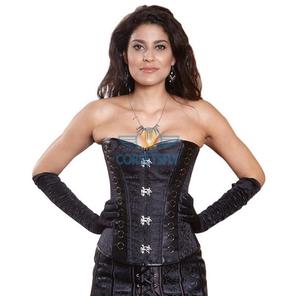 Victorian Brocade Leather Style Pattern Steel Boned Clasp Buckles Corset CF5322