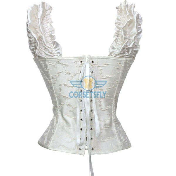Victorian Classic Decent princess Embroidery Overbust Corset With Pleated Sleeves CF5168 White_01