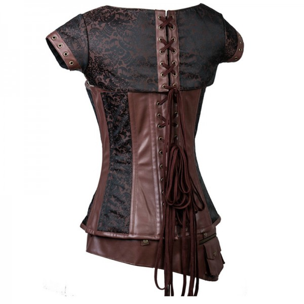 Victorian Vintage Steel Boned Brocade Steampunk Overbust Waist Training Corsets CF8095 Brown_02