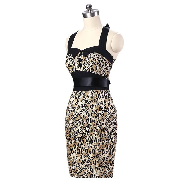Vintage 1950s 1960s Halter Cocktail Pencil Prom Audrey Rockabilly Dresses CF1010 Leopard_02