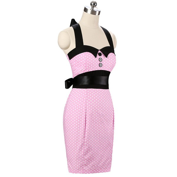 Vintage 1950s 1960s Halter Cocktail Pencil Prom Audrey Rockabilly Dresses CF1010 Pink_02