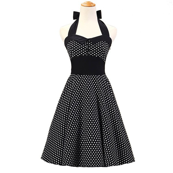 Vintage 1950s Halter Polka Dots Rockabilly Circle Swing Audrey Dresses CF1005 Black