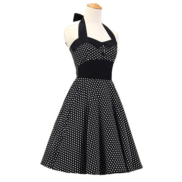 Vintage 1950s Halter Polka Dots Rockabilly Circle Swing Audrey Dresses CF1005 Black_01