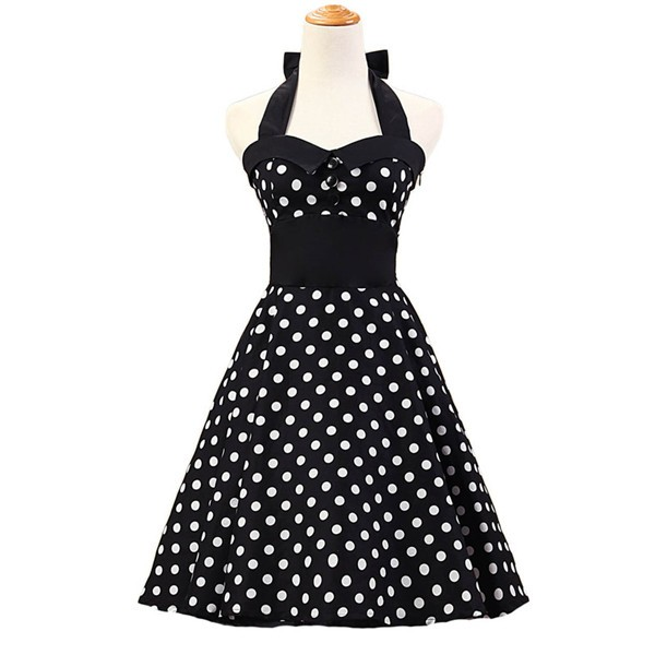 Vintage 1950s Halter Polka Dots Rockabilly Circle Swing Audrey Dresses CF1005 Black White