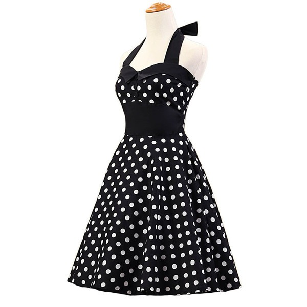 Vintage 1950s Halter Polka Dots Rockabilly Circle Swing Audrey Dresses CF1005 Black White_01