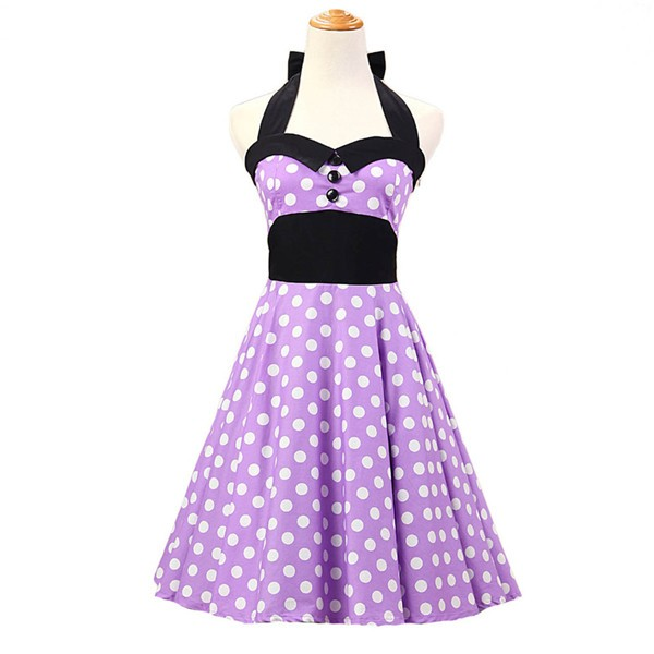 Vintage 1950s Halter Polka Dots Rockabilly Circle Swing Audrey Dresses CF1005 Purple