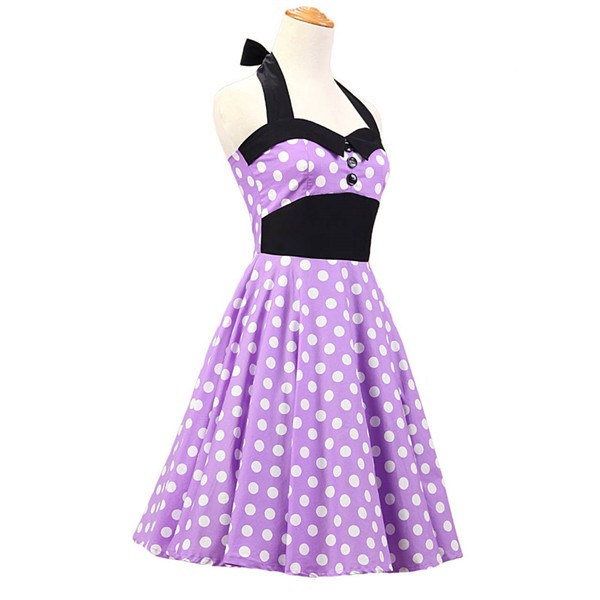Vintage 1950s Halter Polka Dots Rockabilly Circle Swing Audrey Dresses CF1005 Purple_01