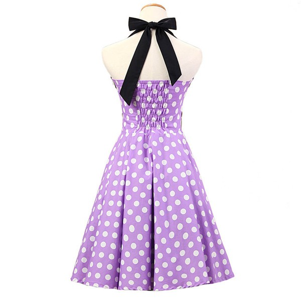 Vintage 1950s Halter Polka Dots Rockabilly Circle Swing Audrey Dresses CF1005 Purple_02