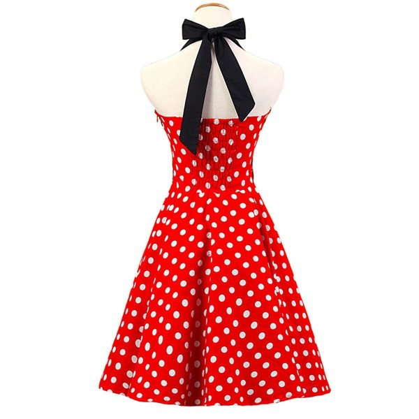 Vintage 1950s Halter Polka Dots Rockabilly Circle Swing Audrey Dresses CF1005 Red_02